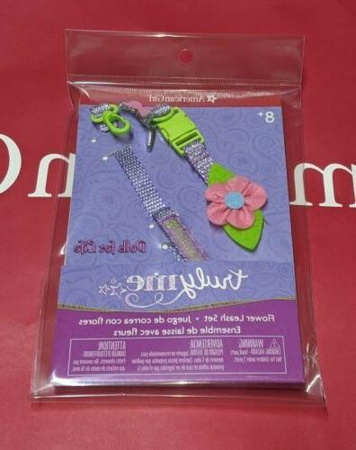 flower leash collar set for doll sized