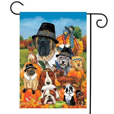 give thanks dogs thanksgiving garden flag humor
