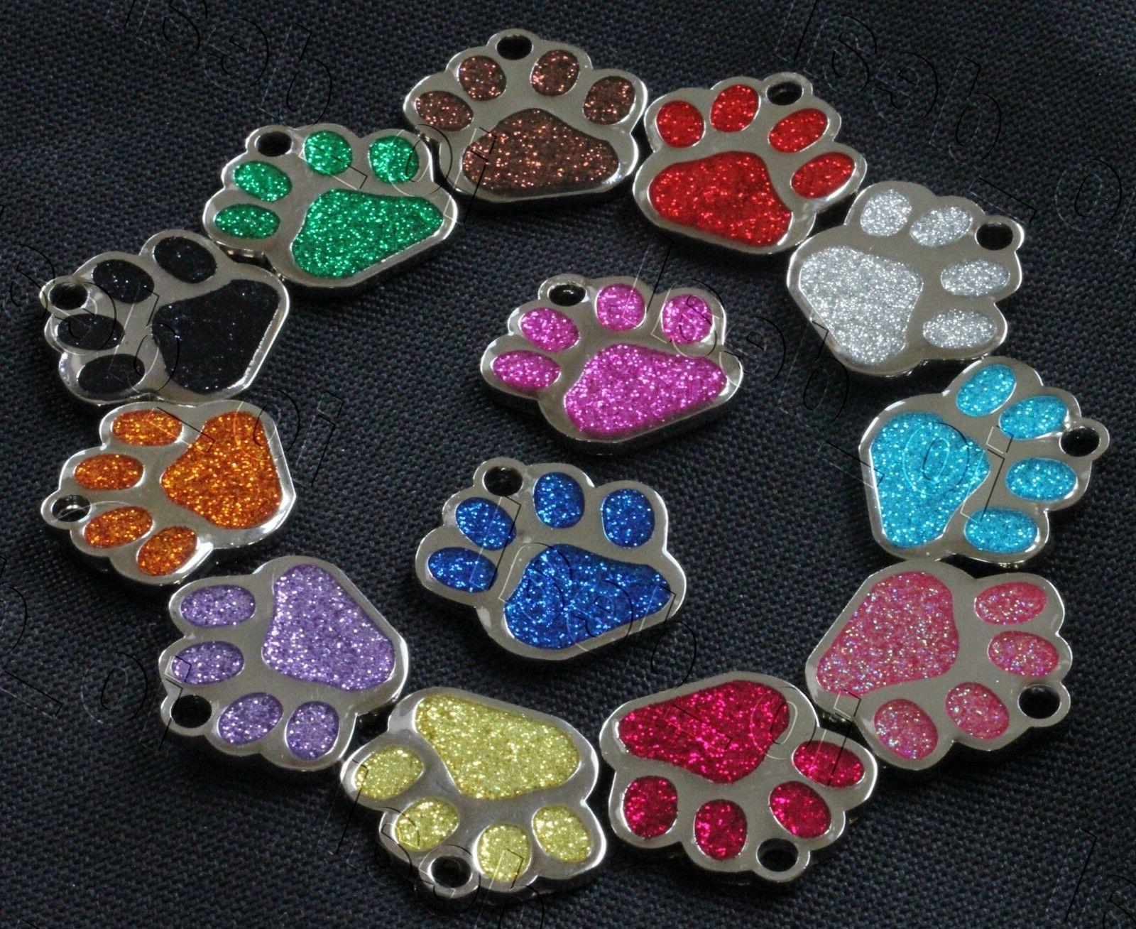 Glitter ID Tags Custom Engraved Dog Personalized