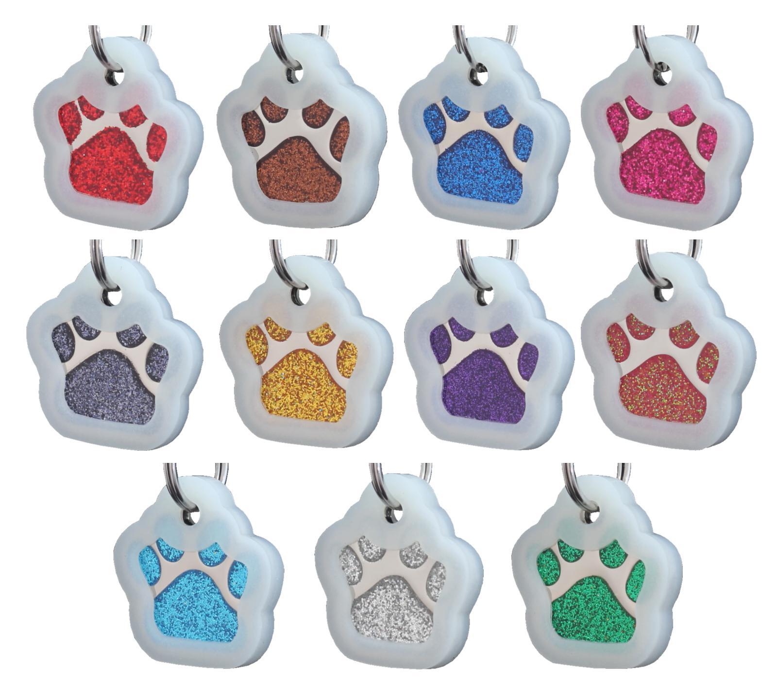 Glitter Paw ID Dog Tag Personalized
