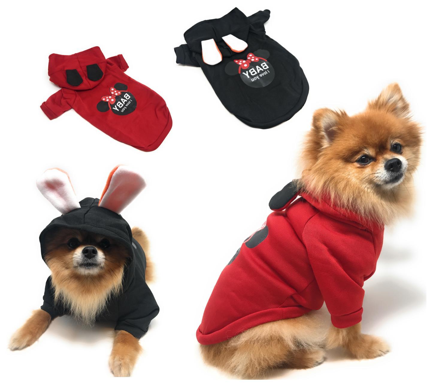 hoodie print pet dog clothes winter warm