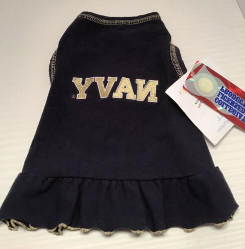 navy pet dog dress cheerleader outfit size