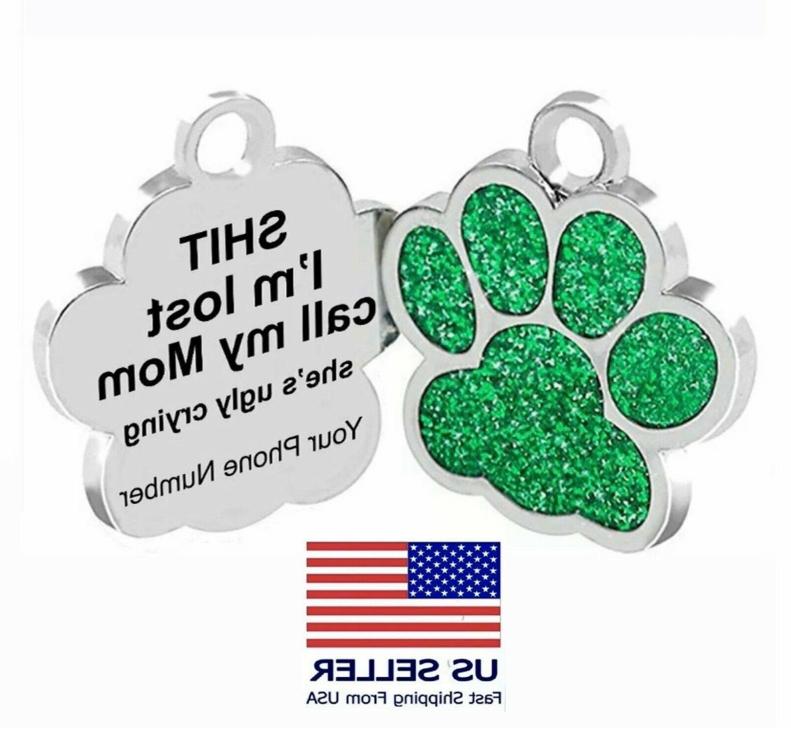 personalized pet dog sparkly paw tags id