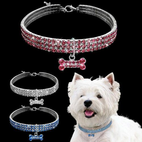 pet dogs cat diamond bow collar rhinestone
