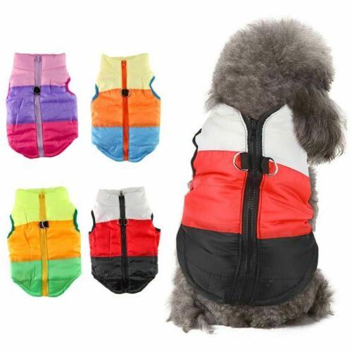 Pets Vest Jacket Warm Waterproof Padded Puppy Zipper USA