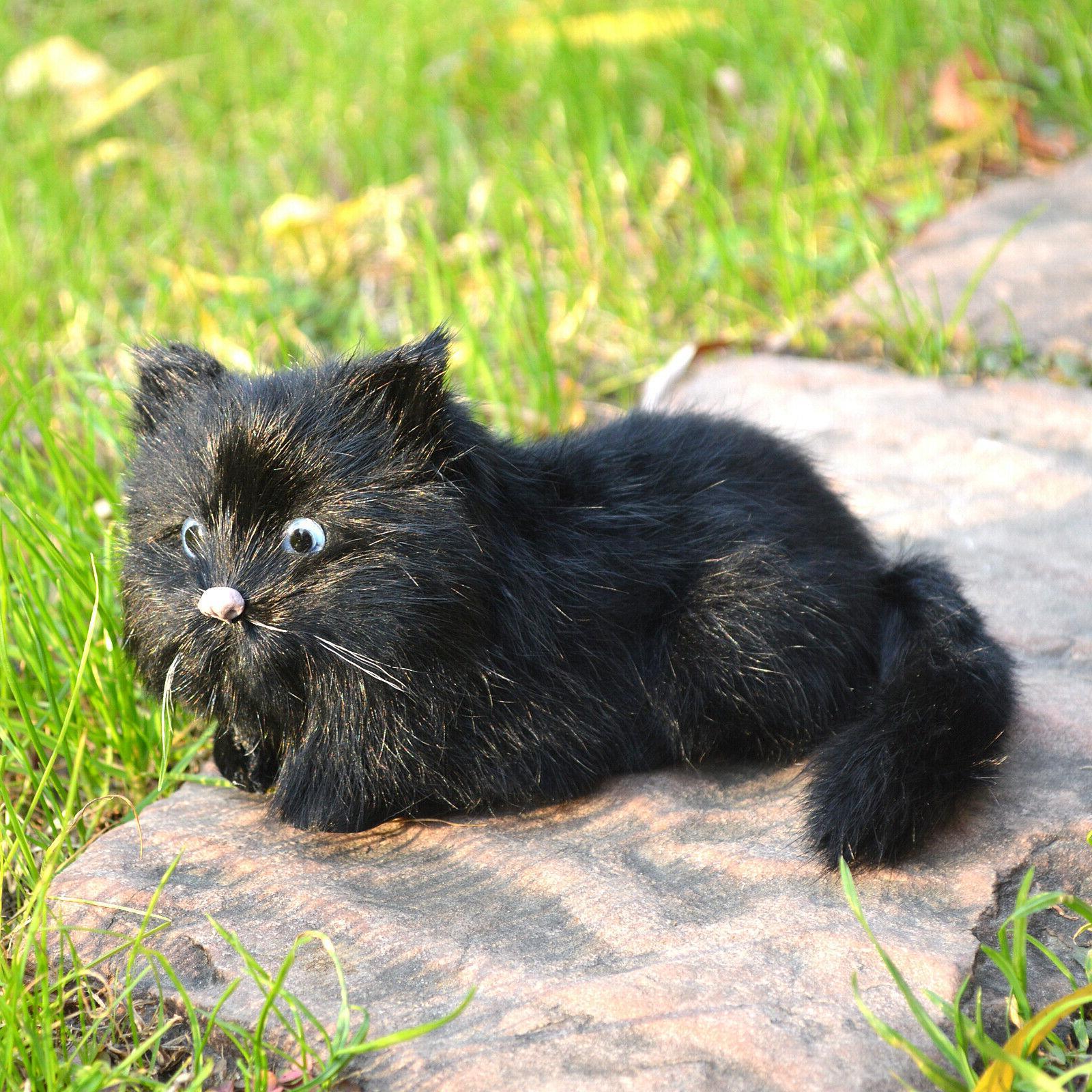 Realistic Black Kitty Replica Animal Pet