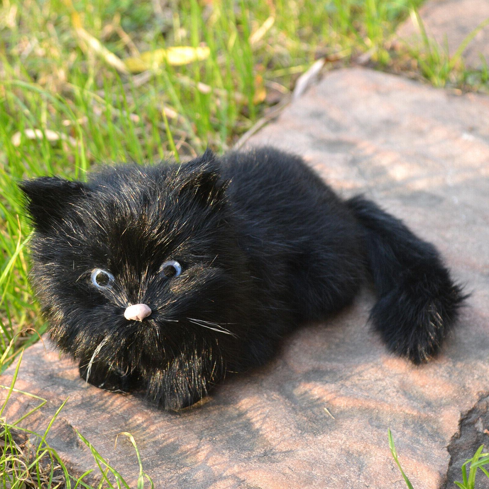 Realistic Black Cat Kitty Animal Pet Photography Prop