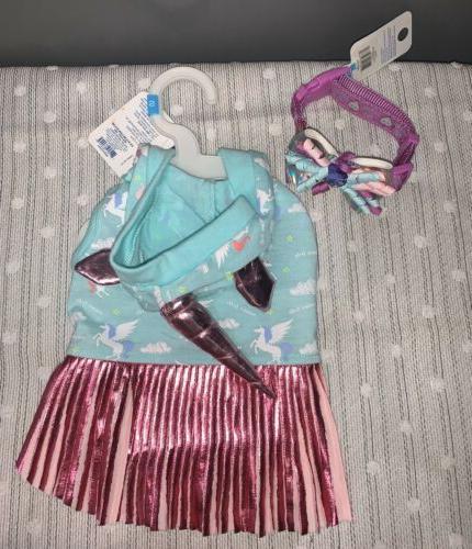 unicorn pet dress matching collar size xs