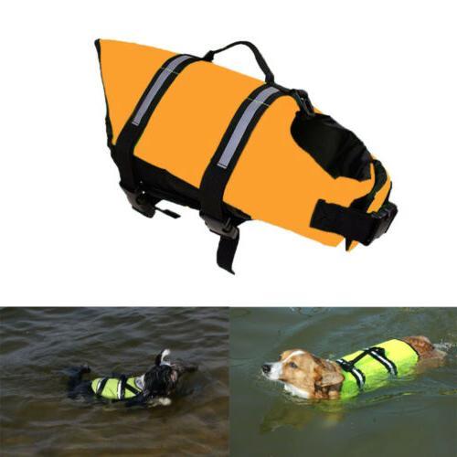 Dog Jacket Reflective Stripe Preserver Puppy Swimming