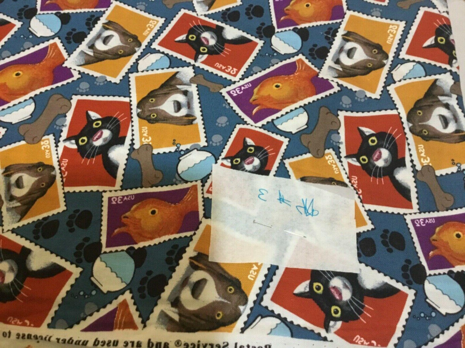 usps pets postage stamps cotton fabric bthy