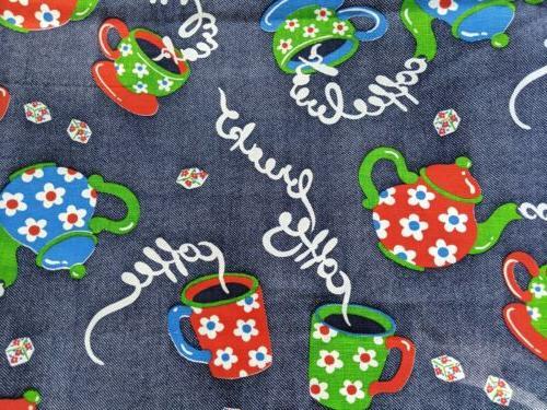 vintage coffee break denim look fabric coffee