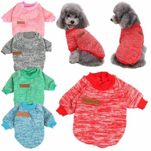 US Pet Dog Cat Warm Fleece Vest Clothes Coat Puppy Shirt Swe