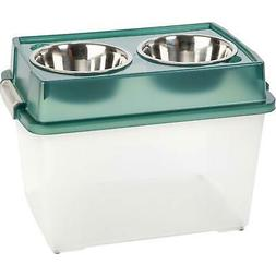 IRIS Large Elevated Pet Feeder with Airtight Storage Green