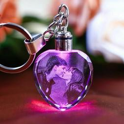 Laser Engraved Photo Keychain Personalized Picture LED Light