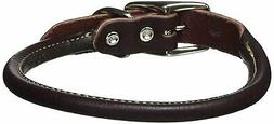 "Leather Latigo Round Pet Collar Size: 0.8"" W x 18"" D"