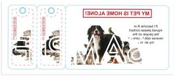 Leather name tag id + My Pet is Home Alone ID Wallet Plastic