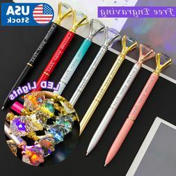LED Light Custom Diamond pens Name pens. Metal pen Personali