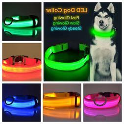 LED Light up Dog Collar Pet Night Safety Bright Flashing Adj