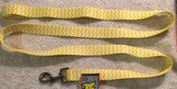 """Lemon Yellow Chevron 1"""" x 60"""" Standard Pet Leash by Yellow D"""