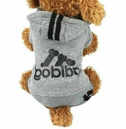 M Addidog Pet Track Suit Gray Black Dog Hoodie Coat Sweat sh