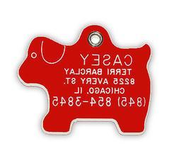 Medium Dog Shaped Pet Tag  Durable Acrylic Plastic Personali