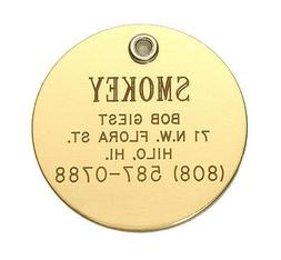 Medium Polished Brass Pet ID Tag, Personalized, Deep Engrave