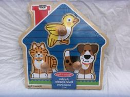 MELISSA & DOUG JUMBO KNOB  WOODEN PUZZLE   HOUSE PETS  AGE 1