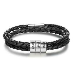 Men Leather Bracelet with 3 Personalized Names Beads