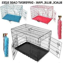 METAL PET CAGE CARRIER DOG PUPPY FOLDING TRAINING CRATE TRAV