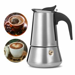 Moka Italian Coffee Maker Pot Stainless Steel Stovetop Espre
