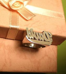 Personalized Name Ring in Sterling Silver with Any Names Fla