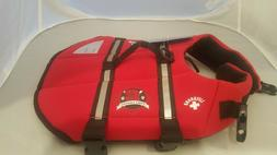 Paws Aboard Small Neoprene Designer Doggy Life Jacket, Red L