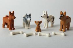 NEW Lego Animal Pets 5 Dogs lot Chihuahua Husky Shepherd Dal