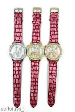 New Paris Eiffel Tower Stones 3D Dial Pink Leather Band Watc