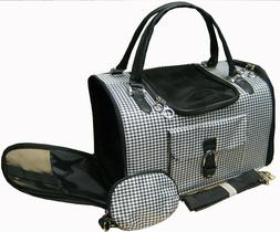 NEW Pet Cat/Dog Soft Hounds-tooth Travel Transport Carrier T
