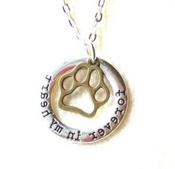 New PET MEMORY Necklace Forever in my Heart Paw Print Charm
