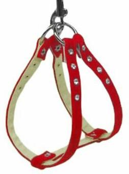 NWT Mirage Pet Products Dog Harness Step In Red Velvet Clear
