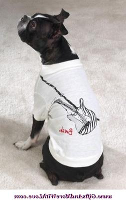 Casual Canine NWT White SPARKLY GUITAR BREAK ROCK PET DOG TE