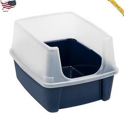 IRIS Open Top Cat Litter Box With Shield Regular Navy Pet Ki
