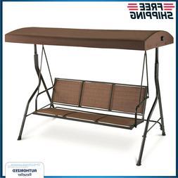 Outdoor Swing Seat 3 Person Lounge W/ Canopy Patio Backyard
