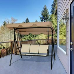 Outdoor Swing with Canopy 2,3-Person Patio Porch Steel Swing