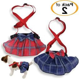 PACK 2 Female Dog Diapers SKIRT Plaid Suspenders Pants Small