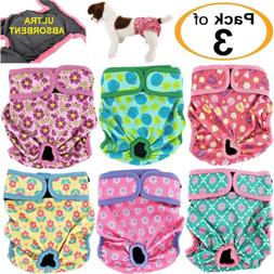 PACK of 3 Female Dog Diapers Cat LEAK PROOF Waterproof Washa