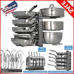 Pan Rack Organizer Adjustable 8 Pots Holder Kitchen Cabinet