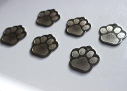 PET TAGS PAW  ID STAINLESS STEEL 2 SIDE DIAMOND ENGRAVE DOG