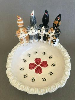 Pence Pets ORIGINAL,Cat food dish cat figurines, clay cats h