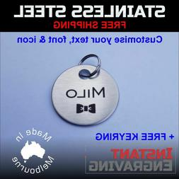 Personalised Brushed Stainless Steel Pet Dog Cat Tag Custom