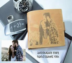 Personalised leather Wallet Image Photo Engraved Boyfriend G