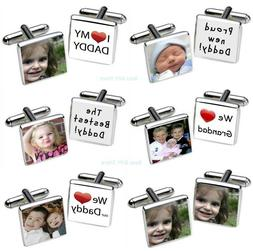 PERSONALISED PHOTO Cufflinks Gifts Presents for DADDY Granda