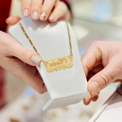 Personalized 14K Gold Plated Any Name Plate Script Chain Nec